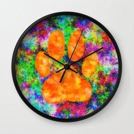 Dog Paw Print Watercolor Wall Clock