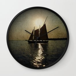 Sailing at twilight Wall Clock