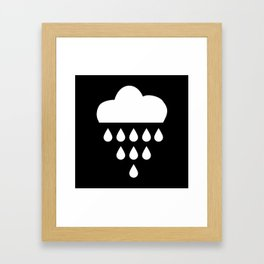 clound with rain drops. black white Framed Art Print
