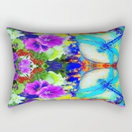 Purple Flowers with Flirting Blue Dragonflies Western Art Rectangular Pillow