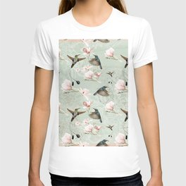 Vintage Watercolor hummingbird and Magnolia Flowers on mint Background T-shirt