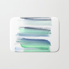 Frozen Summer Series 156 | Watercolor Simple Pattern Blue Shades Vertical Bath Mat
