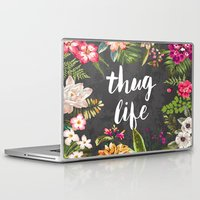 laptop Laptop & iPad Skins featuring Thug Life by Text Guy
