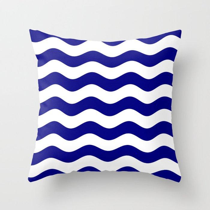 Wavy Stripes (Navy Blue/White) Throw Pillow