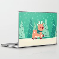 reindeer Laptop & iPad Skins featuring Reindeer by Claire Lordon