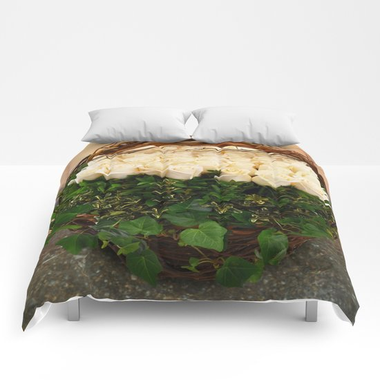 Roses in Ivy Comforters