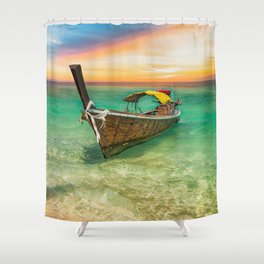 Longboat Sunset Thailand Shower Curtain
