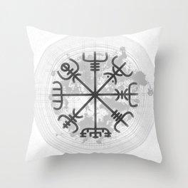 VEGVISIR Nordic sign post compass wayfinder watercolor v1 Throw Pillow