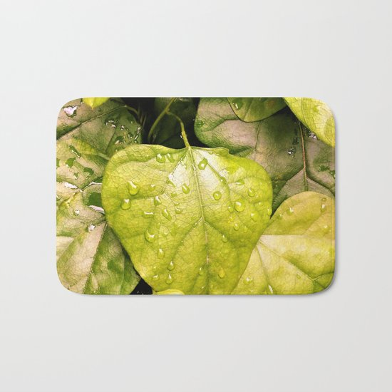 Green Vines in the Morning Dew Bath Mat