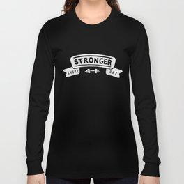 Stronger Every Day (dumbbell, black & white) Long Sleeve T-shirt