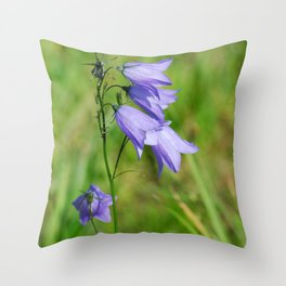 Violet blue Harebell Flower Throw Pillow
