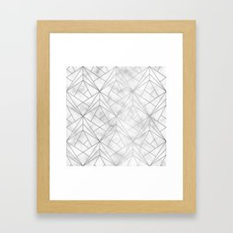 Geometric Silver Pattern on Marble Texture Framed Art Print