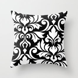 Flourish Damask Art I White on Black Throw Pillow