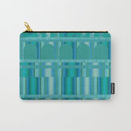 Blue Green Arches and Stripes Pattern Carry-All Pouch