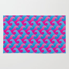 Abstract Blue and Pink Ocean Wave Seamless Surf Pattern Rug