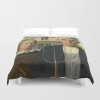 dentist Duvet Covers featuring American Gothic by Grant Wood by Elegant Chaos Gallery