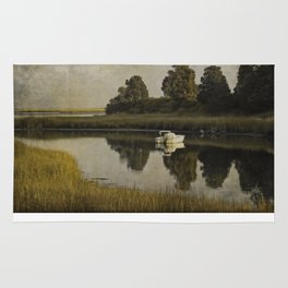 Boat at Dusk with Olive Gold and Gray Rug