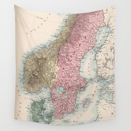 Vintage Map of Norway and Sweden (1865) Wall Tapestry
