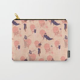 Sisterhood around the world: Women in colorful pink and purple swimming suits with flower background Carry-All Pouch
