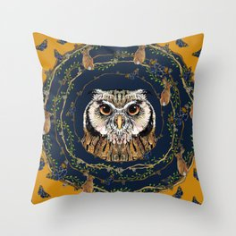Woodland Owl Throw Pillow