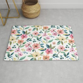 Colorful Watercolor Flowers Rug
