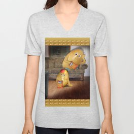 Father And Son Couch Potatoes Unisex V-Neck