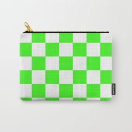 Checkered - White and Neon Green Carry-All Pouch