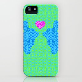 Blue and Green Digital Pattern with Pair of Bunnies in Love with Pink Heart iPhone Case