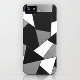Silver Gray Black White Geometric Glam #1 #geo #decor #art #society6 iPhone Case
