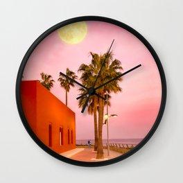 Super Moon At Sunset Wall Clock