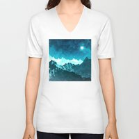 outer space V-neck T-shirts featuring Outer Space Mountains by Phil Perkins