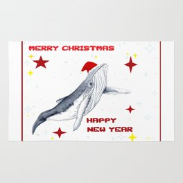 Merry Christmas Seaon greetings for whale lovers Rug