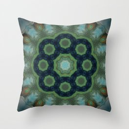 Coral Reef // Nature Inspired Geometric Pattern Water Blue Green Healing Energy Mandala Throw Pillow