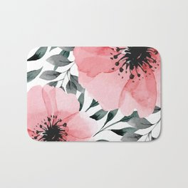 Big Watercolor Flowers Bath Mat