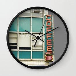 Aqua and Gray New York Coffee Shop Wall Clock