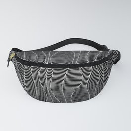 Black Waves Lines Fanny Pack