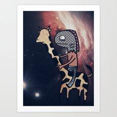 Half Man/Half Fish Riding a Giraffe in Space Art Print