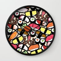 sushi Wall Clocks featuring Sushi! by thickblackoutline