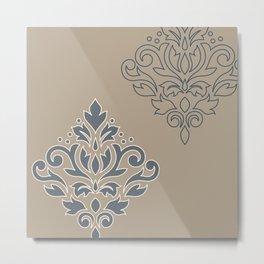 Scroll Damask Art I (outline) Crm Blues Sand Metal Print