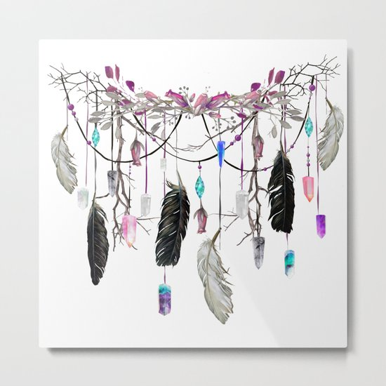 Raven Feathers And Roses Crystal Spirit Gazer Metal Print