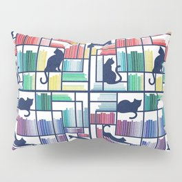 Rainbow bookshelf // white background navy blue shelf and library cats Pillow Sham