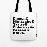 nietzsche Tote Bags featuring Camus& Nietzsche& Sartre& Bukowski& Pessoa& Kafka. by Andrew Gony