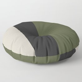 Modern Minimal Colorblock Olive Green, Black and Natural Floor Pillow