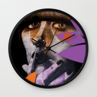 "karen hallion Wall Clocks featuring ""Karen O"" by Samy Vincent"