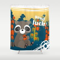 racoon Shower Curtains featuring Lucky racoon by MonsterFromTheLAke