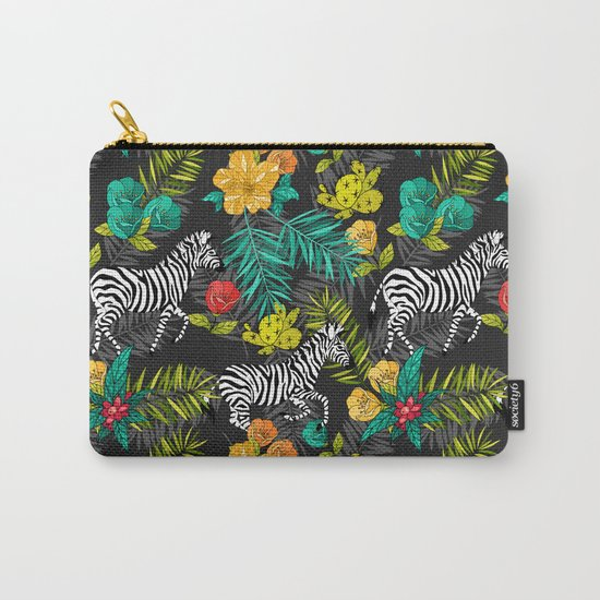 Tropical pattern with zebra Carry-All Pouch