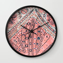 Light Pink Wildflower Sunshine III // 18th Century Colorful Pinkish Dusty Blue Gray Positive Pattern Wall Clock