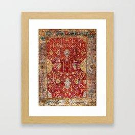 Antique Turkish Oushak Rug Print Framed Art Print