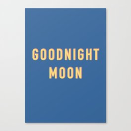 Goodnight Moon, Digital Download, Retro Aesthetic, Fun, Funky, 90s vintage wall art, bedroom, nurser Canvas Print