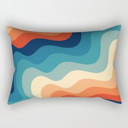 Retro 70s and 80s Color Palette Mid-Century Minimalist Abstract Art Ocean Waves Rectangular Pillow